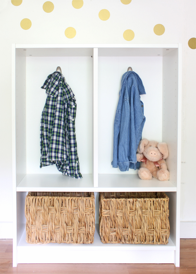 Billy bookcase to mini-mudroom