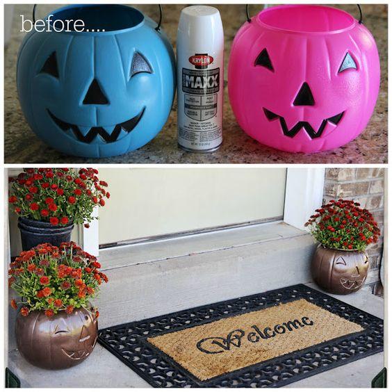 Plastic Pumpkin Candy Bucket Makeover Ideas