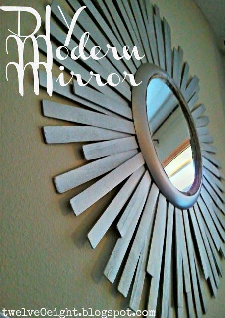 Paint Stick Sunburst Mirror