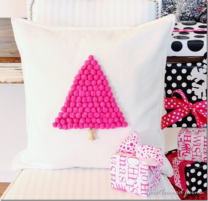 pom pom tree pillow