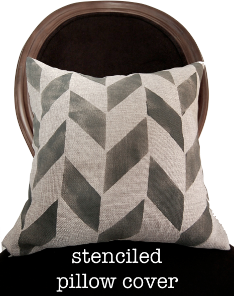 stenciled pillow cover