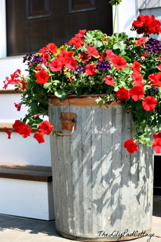 trash to treasure garbage can flower planter