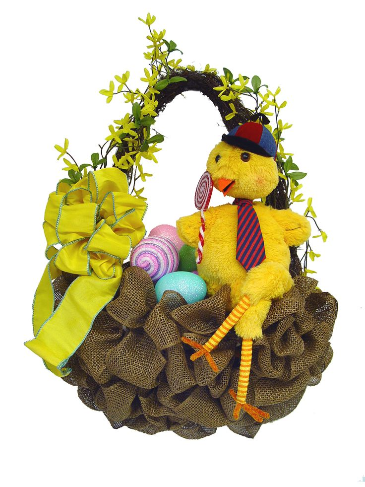 burlap hanging easter basket