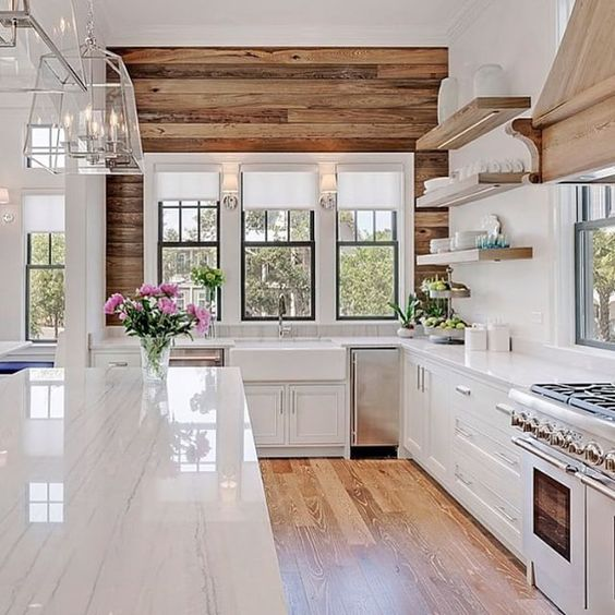 Farmhouse Kitchen - Wood Wall