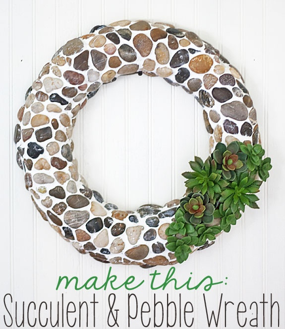 succulent and pebble wreath