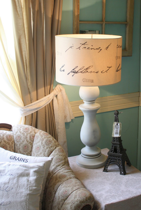 Gorgeous DIY pottery barn inspired love letter lamp - with an actual love letter on the shade. Pinning this for that thrift store lamp I've been saving forever.