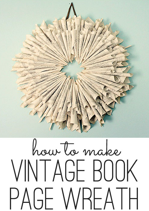 how to make a book page wreath