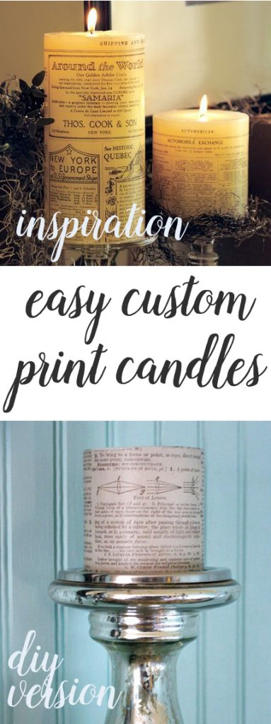 make your own custom print candles in just a few minutes. Super easy craft idea.
