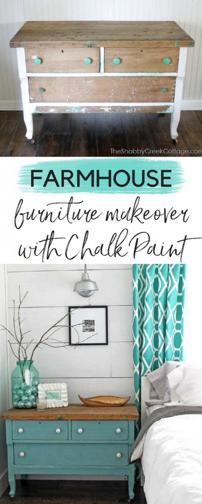 farmhouse furniture makeover with chalk paint