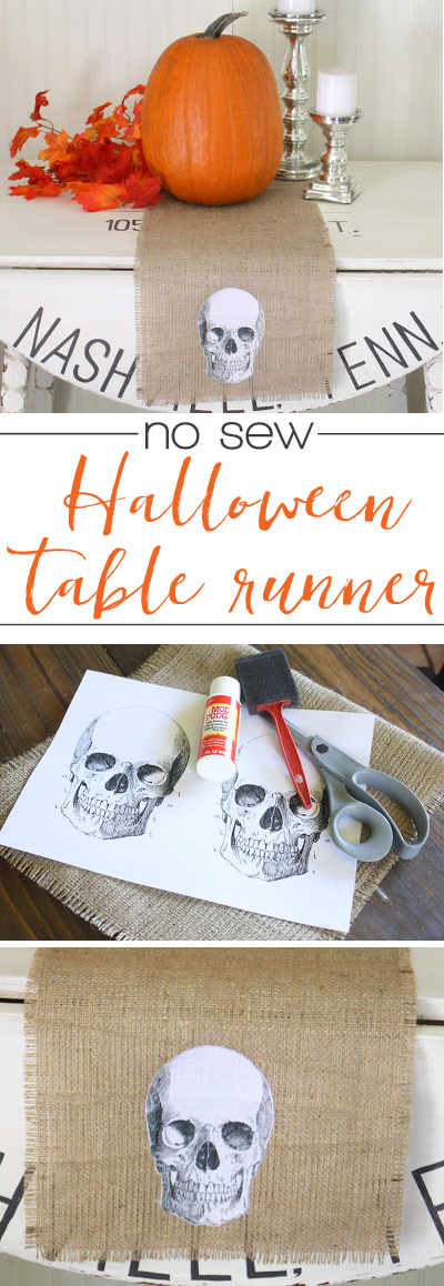 Easy DIY Halloween table runner - great idea for our Halloween party!