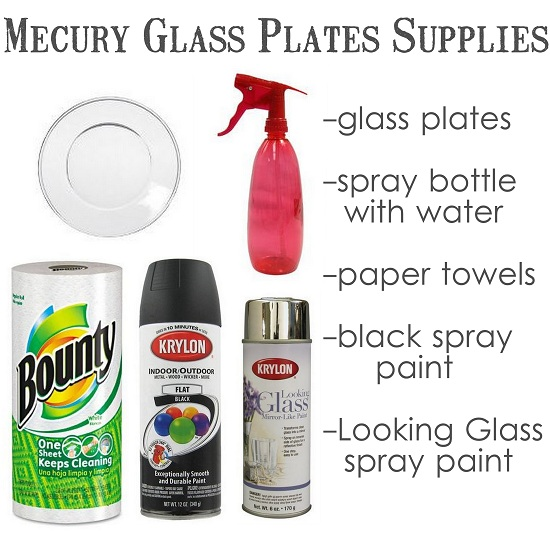 Supplies to make mercury glass plates - these look so easy! Definitely want to try these!