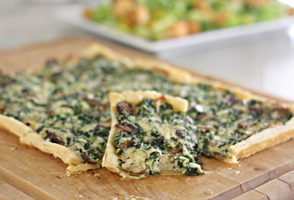 Yummy spinach mushroom tart - perfect for entertaining! This easy recipe is great for brunch or a light lunch.