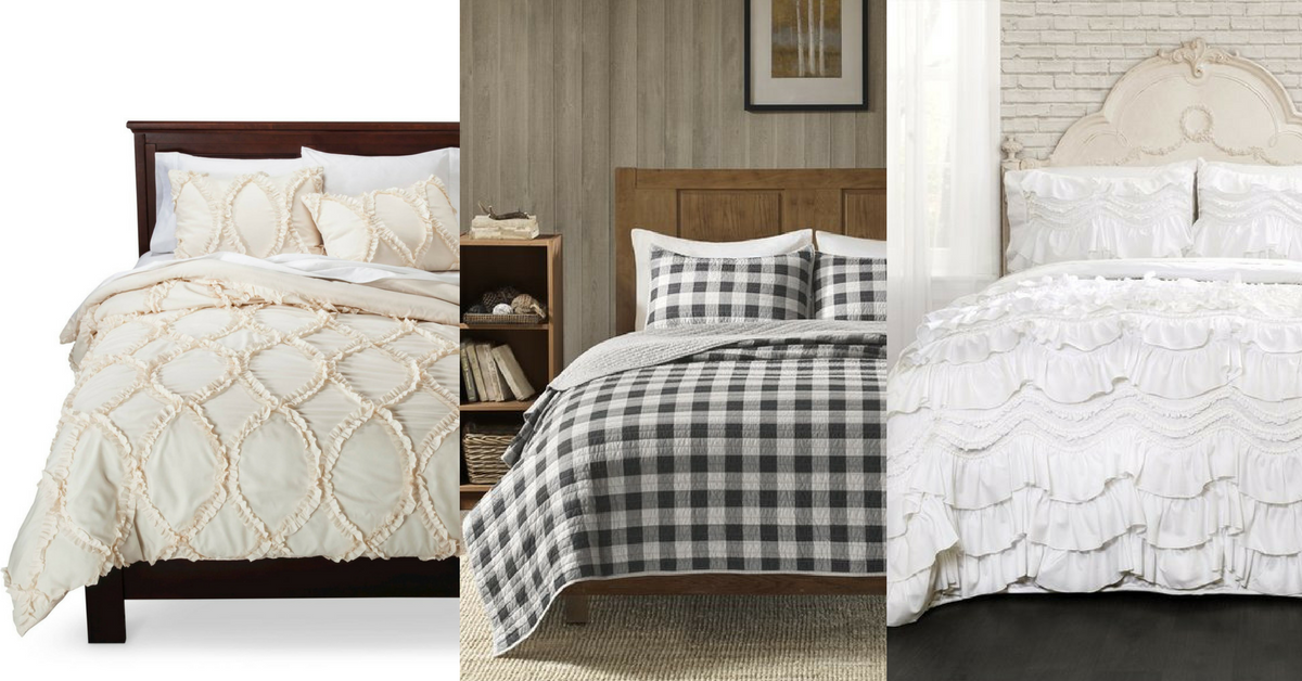 top ten beautiful farmhouse bedding choices under 100. Black Bedroom Furniture Sets. Home Design Ideas