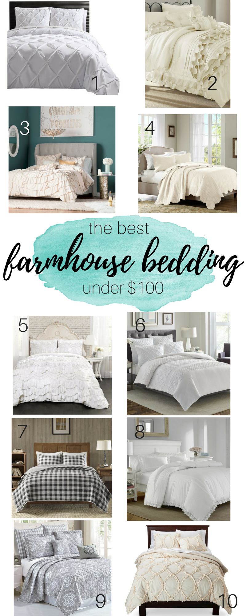 Gorgeous farmhouse bedding options all under $100! So many beautiful choices - which one is your favorite?