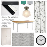 Interior Designed Black and White Farmhouse Inspired Office