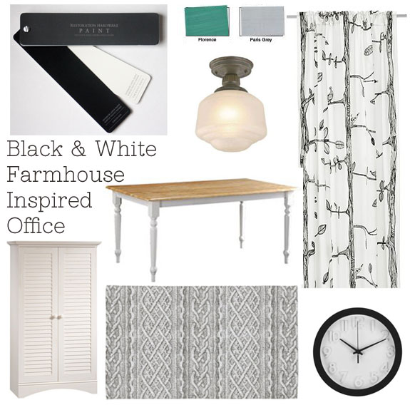 Black and White Farmhouse Inspired Office