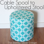 how to make an ottoman from a cable spool via The Shabby Creek Cottage
