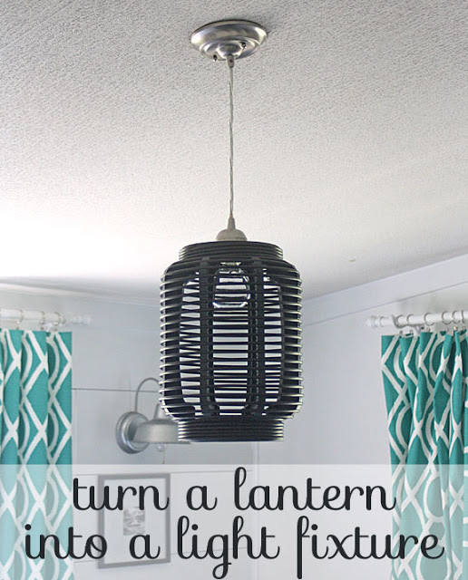 make this: turn a lantern into a light fixture