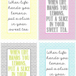 Free art: When life hands you lemons, put a slice in your sweet tea printables from TheShabbyCreekCottage.com