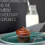 Marshmallow in the Middle Chocolate Cupcake Recipe via The Shabby Creek Cottage