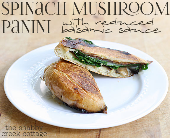 Spinach mushroom panini with reduced balsamic sauce