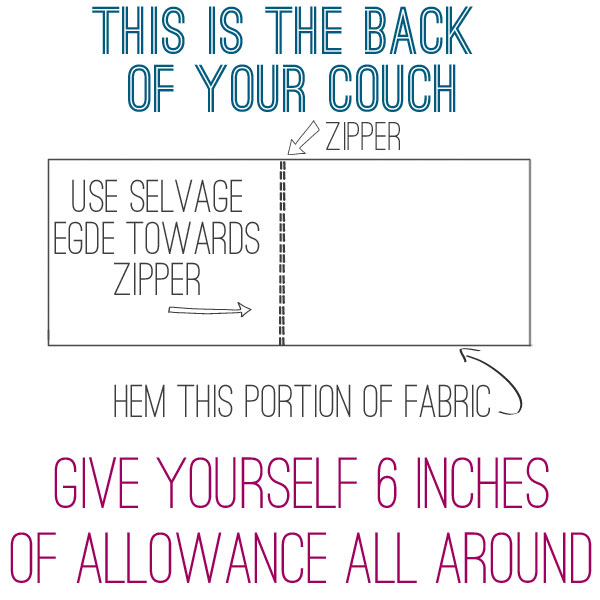 back of couch slipcover template