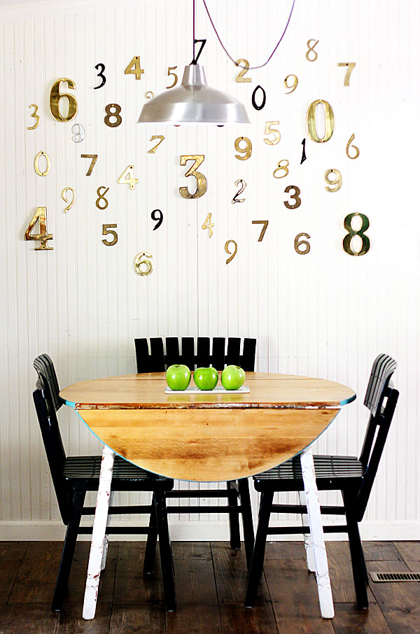 Make a focal wall with vintage house numbers