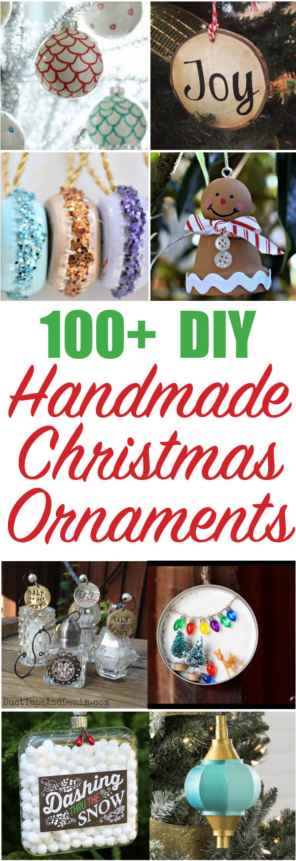 Over 100 beautiful Handmade Christmas Ornaments - so many great ways to decorate the tree!