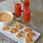 spicy shrimp with siracha bloody mary