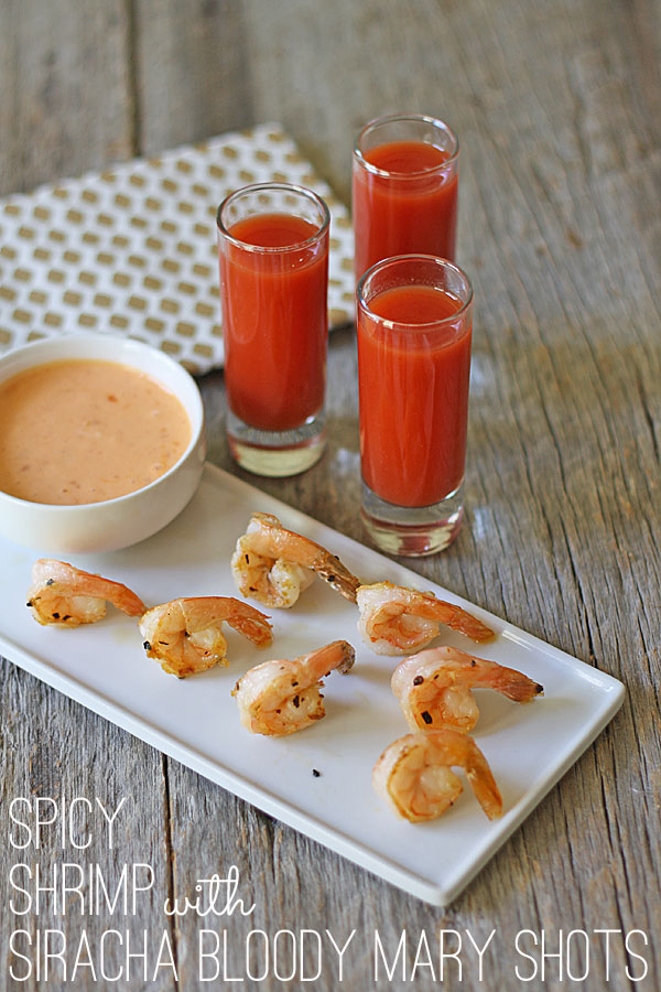 Spicy Shrimp with Siracha Bloody Mary Shots