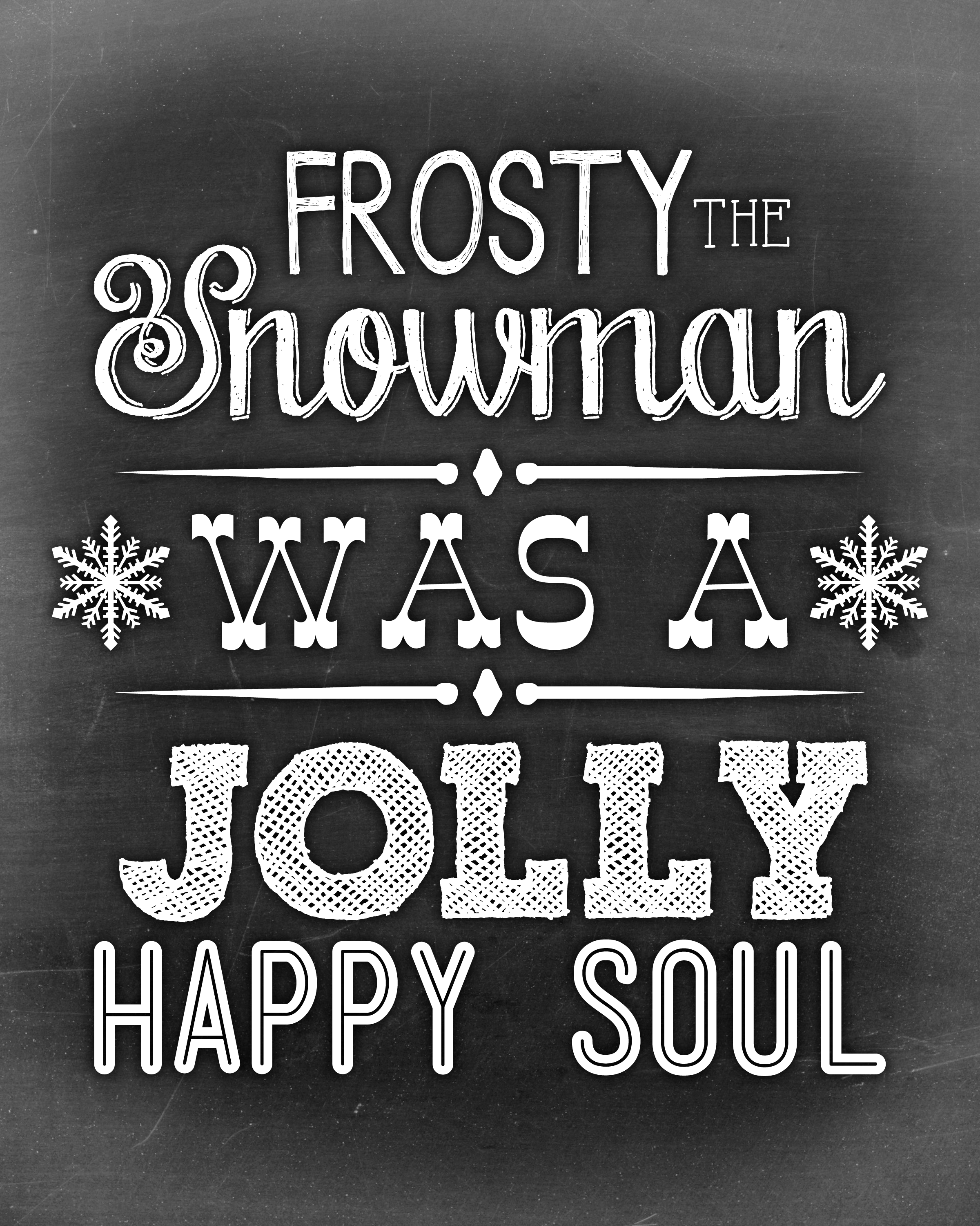 Frosty the Snowman Chalkboard Art