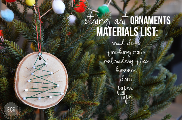 fun and creative Christmas ornaments ideas- rustic or geometric string ornament