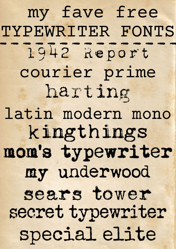 free typewriter fonts - for personal or commercial use