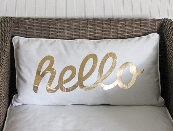 gold hello pillow