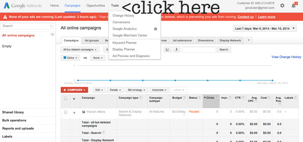 how to use adwords keyword planner tool