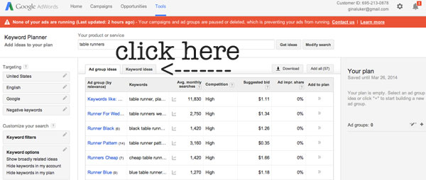 how to use the adwords keyword planner tool