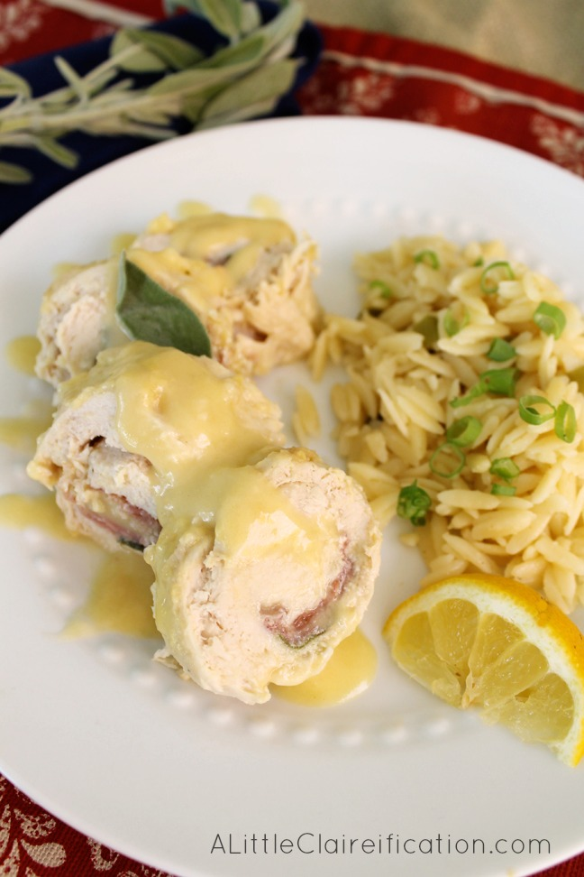Delicious Chicken Saltimbocca made in a crockpot. Super simple and easy to make.
