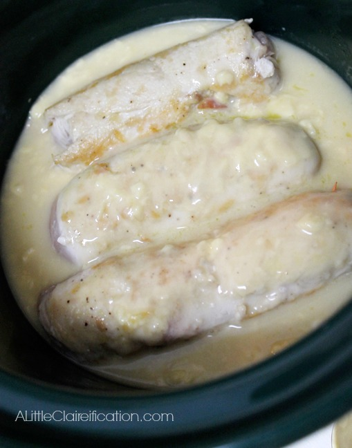 Rolled Chicken saltimbocca in a crockpot