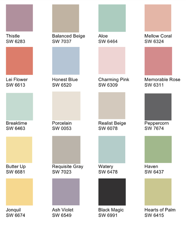 shabby chic paint colorsSherwin Williams Paint Colors Chart Free Size X Paint Color Chart