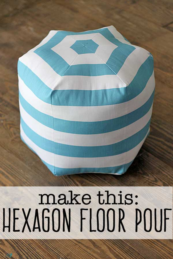 how to make a hexagon diy floor pouf. Black Bedroom Furniture Sets. Home Design Ideas