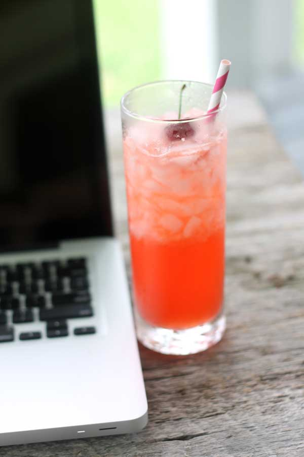 coconut cherry limeade cocktail