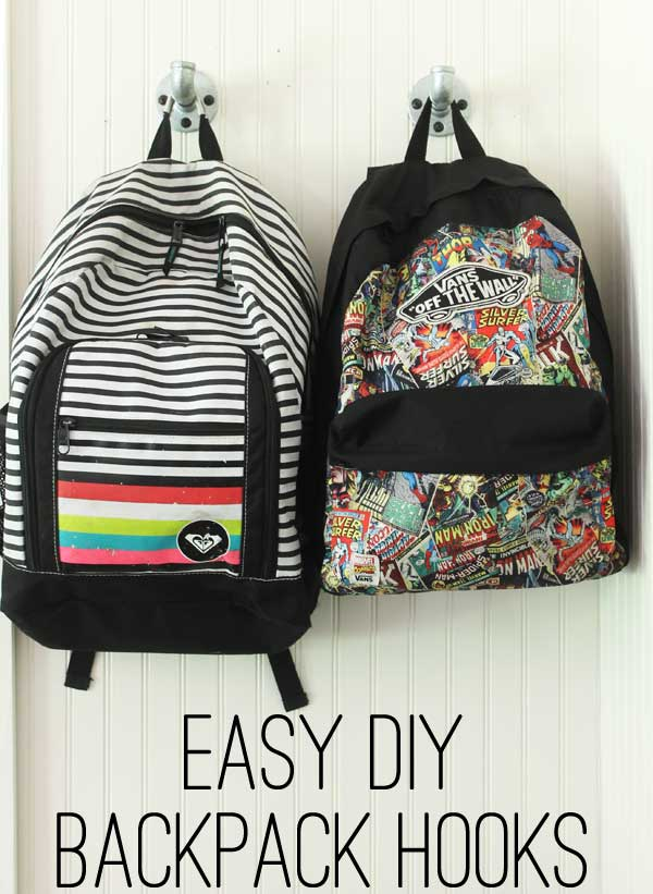 easy DIY back pack hooks
