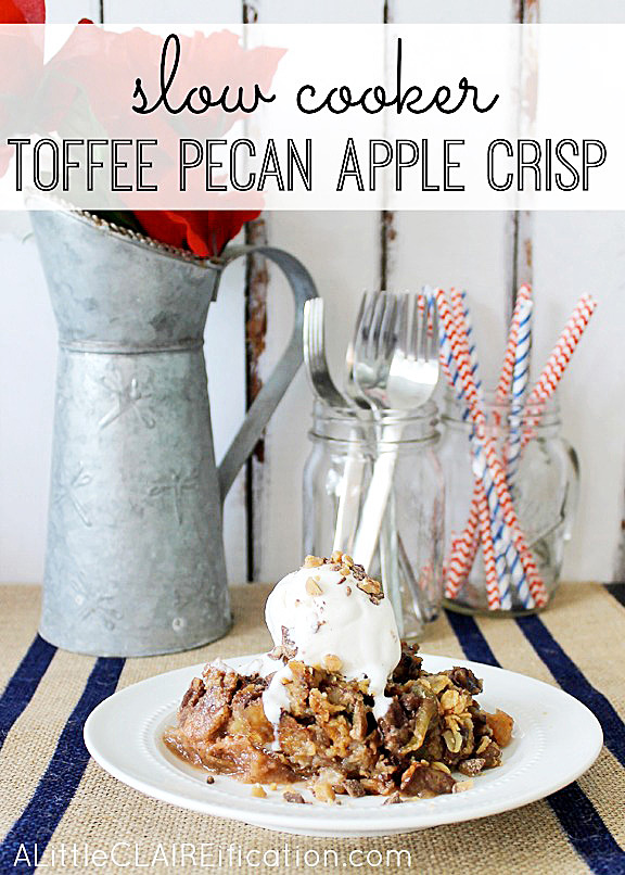 Toffee pecan apple crisp recipe made in a slow cooker!