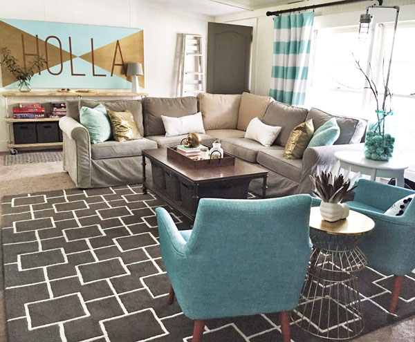 Bright Fun Living Room On A Budget