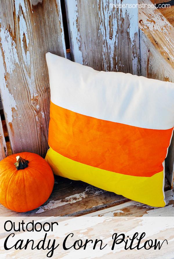 Outdoor Candy Corn Pillows
