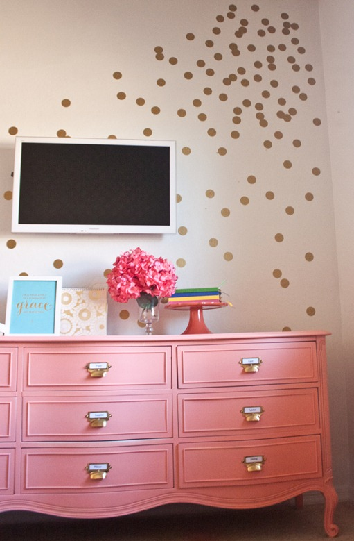 Diy gold wall dots Best color to paint dresser