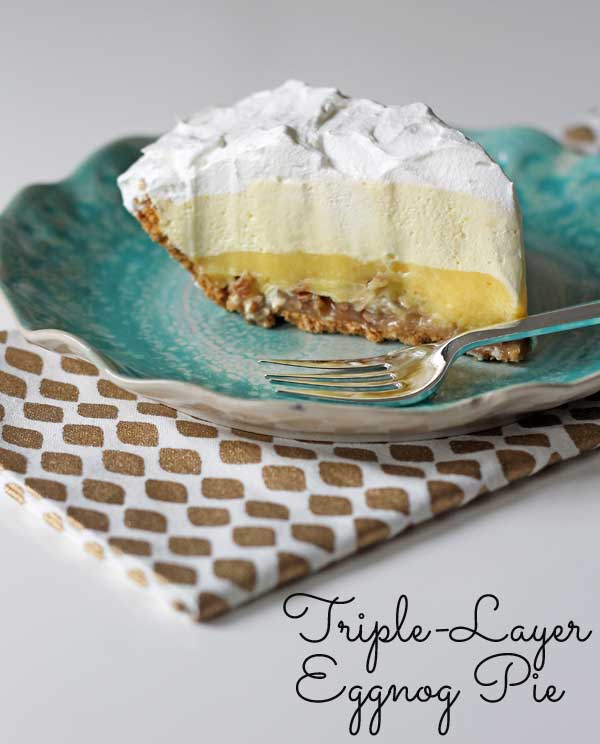 Triple-Layer Eggnog Pie (no bake dessert recipe)