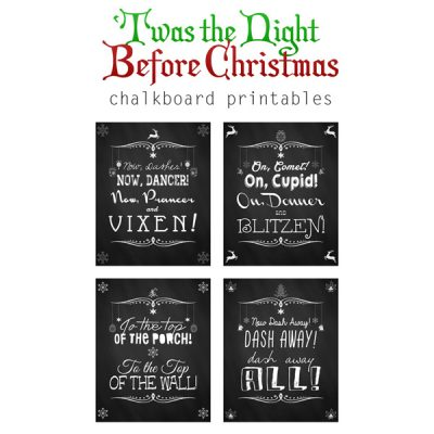 Free Christmas Chalkboard Printables + Linky Party