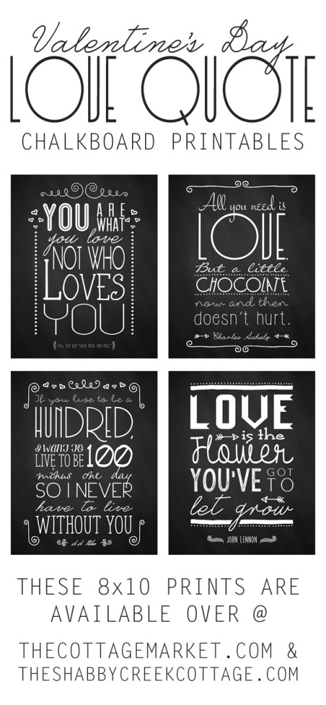 Valentines Day Chalkboard Printables