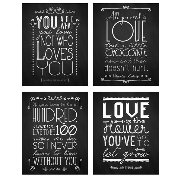 Free Valentines Day Chalkboard Printables